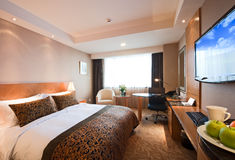 Deluxe hotel room interior stock photography