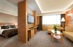 Deluxe hotel suite interior. Panoramic view of deluxe hotel suite interior royalty free stock photo