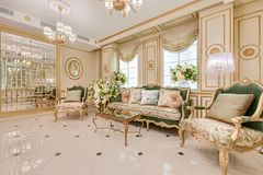 Deluxe living room interior. Deluxe classic living room interior royalty free stock photography