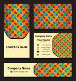Deluxe Markendesignausrüstung mit dekorativer Verzierung von blauen, roten, grünen, gelben und orange Schatten Erstklassige Unter stock abbildung