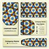 Deluxe Markendesignausrüstung mit dekorativer Verzierung von blauen, weißen und braunen Schatten Erstklassige Unternehmensidentit lizenzfreie abbildung