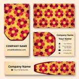 Deluxe Markendesignausrüstung mit dekorativer Verzierung von weinartigen, roten, orange und gelben Schatten Erstklassige Unterneh vektor abbildung