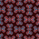 Deluxe seamless pattern with red and blue metallic decorative ornament on dark red background Stock Images