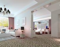 deluxe Suiteinnen-Wiedergabe des Hotels 3D vektor abbildung