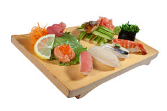 Deluxe Sushi Combination. Isolated on white background stock image