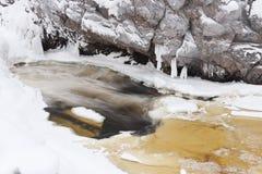 Delvis djupfryst flod på vintern royaltyfri foto