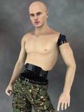 Delvis robotman eller futuristic soldat. Royaltyfri Fotografi