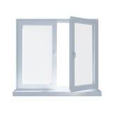 Delvist öppnat fönster som isoleras på Royaltyfri Fotografi