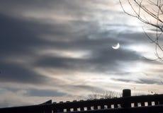 delvist sol- för förmörkelse Arkivfoto