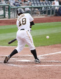 Delwynn Young of the Pittsburgh Pirates. Swings at a pitch against Cincinnati Reds on September 24, 2009 in Pittsburgh, PA Royalty Free Stock Image