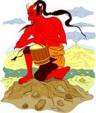 Demónio japonês vermelho Ilustração do Vetor