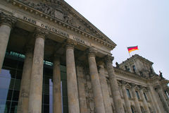 Dem Deutchen Volke. Entrance to the Reichstag building in Berlin Stock Photography