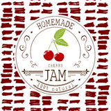 Dżem etykietki projekta szablon dla czereśniowego deserowego produktu z ręką rysującą kreślił owoc i tło Doodle wektorowy czereśn Zdjęcia Stock