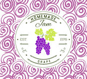 Dżem etykietki projekta szablon dla gronowego deserowego produktu z ręką rysującą kreślił owoc i tło Doodle wektorowy Gronowy ill Obrazy Royalty Free