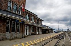 dem historischen Stratford, Ontario, Kanada-Bahnhof Ost betrachten lizenzfreies stockbild