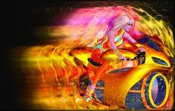 Demônio de velocidade, uma motocicleta futurista que está sendo montada por nossa menina do super-herói da ficção científica! Fotos de Stock Royalty Free