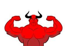 Demônio forte com chifres Diabo vermelho poderoso Halterofilista de Satã ilustração stock