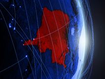 Dem Rep of Congo on blue blue digital Earth. Dem Rep of Congo on blue digital planet Earth with network. Concept of connectivity, travel and communication. 3D royalty free stock photography