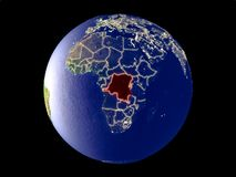 Dem Rep of Congo on Earth from space. Dem Rep of Congo from space on model of planet Earth with city lights. Very fine detail of the plastic planet surface and royalty free stock images