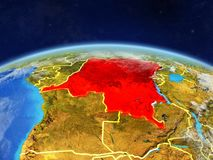 Dem Rep of Congo on Earth from space. Dem Rep of Congo on planet Earth with country borders and highly detailed planet surface and clouds. 3D illustration stock photo