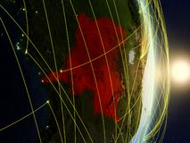 Dem Rep of Congo on networked planet Earth. Dem Rep of Congo in sunrise on planet planet Earth with network. Concept of connectivity, travel and communication royalty free stock image