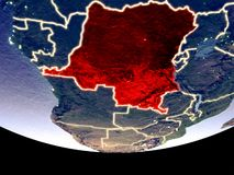 Dem Rep of Congo at night from space. Satellite view of Dem Rep of Congo from space at night. Beautifully detailed plastic planet surface with visible city royalty free stock photo