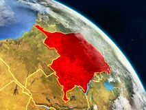 Dem Rep of Congo from space. On realistic model of planet Earth with country borders and detailed planet surface and clouds. 3D illustration. Elements of this royalty free stock image