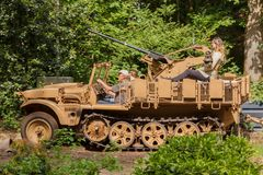 Demag Sd.Kfz. 10 with flak 38 at Militracks event Stock Image