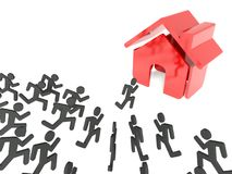 Demand for houses on property market, business metaphor Royalty Free Stock Image