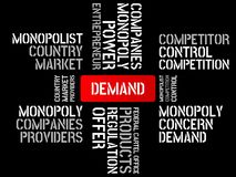 DEMAND - image with words associated with the topic MONOPOLY, word cloud, cube, letter, image, illustration Stock Photo