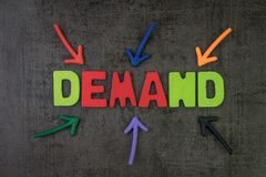 Demand, quantities of a commodity or a service concept, multiple. Arrow pointing to colorful alphabet building the word DEMAND at the center, in economics it`s stock photos