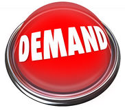 Demand Red Button Increase Customer Response Support New Product. Demand word on a red button to press and increase or improve support or respone of your Stock Photos