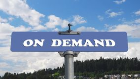 On demand road sign with flowing clouds stock video footage