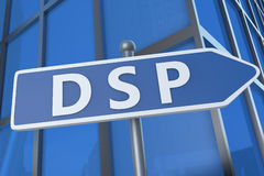Demand Side Platform. DSP - Demand Side Platform - illustration with street sign in front of office building Royalty Free Stock Photos