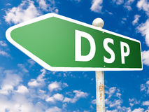 Demand Side Platform. DSP - Demand Side Platform - street sign illustration in front of blue sky with clouds Royalty Free Stock Photo