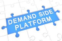 Demand Side Platform. Puzzle 3d render illustration with word on blue background Stock Image