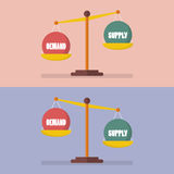 Demand and supply balance on the scale Stock Images