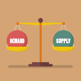 Demand and supply ball balance on the scale Stock Images