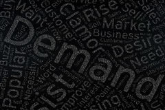 Demand ,Word cloud art on blackboard.  Royalty Free Stock Images