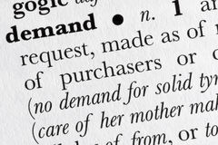 Demand word dictionary definit stock photography