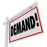 Demand Word Real Estate Home for Sale Sign Best Hottest Location Royalty Free Stock Photo