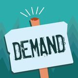 Demanda conceptual de la demostración de la escritura de la mano La foto del negocio que muestra la petición insistente y perento libre illustration