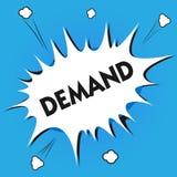 Demanda de la demostración de la nota de la escritura La foto del negocio que muestra la petición insistente y perentoria hecha a stock de ilustración