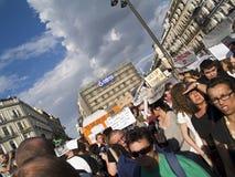 Demanda de la indignación en Madrid Foto de archivo libre de regalías