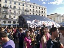 Demandantes en la revolución española del mayo de 2011 Imágenes de archivo libres de regalías