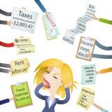 Demandas del pago de la tensión de las cuentas de la mujer de la historieta Imágenes de archivo libres de regalías