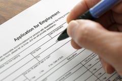 Demande d'emploi Images stock