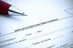 Demande d'emploi avec une teinte bleue Photos stock