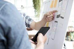 Demande de planification de concepteur de Web de téléphone portable images libres de droits