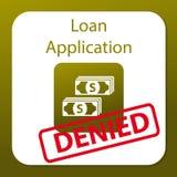 Demande de prêt niée Image stock
